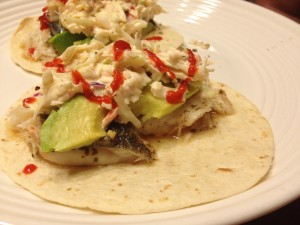 Grilled Fresh Fish Tacos with Sriracha Slaw - by Once in a Blue Spoon