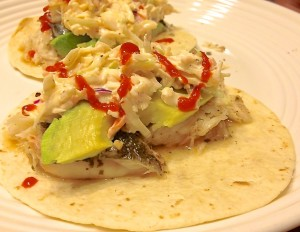 grilled fresh fish tacos with sriracha slaw