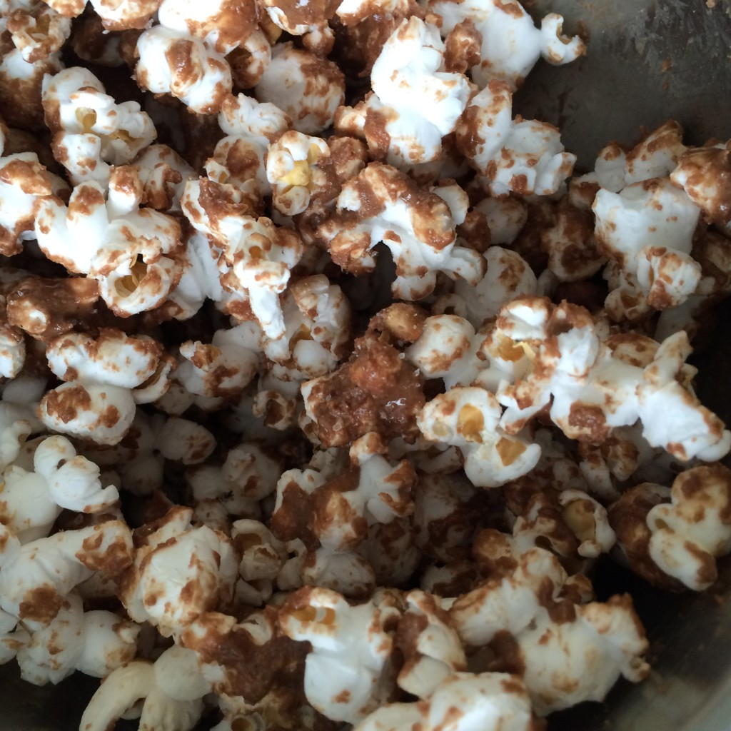 Chocolate Peanut Butter Popcorn with Sea Salt