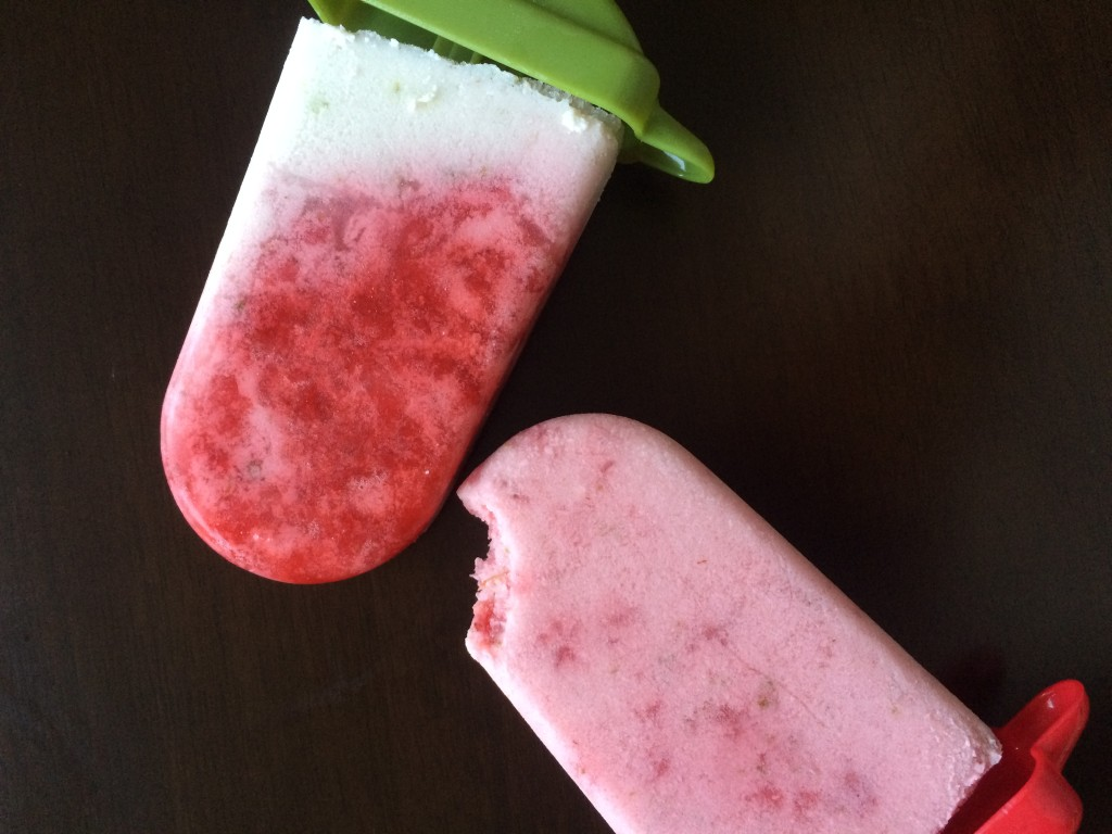 Strawberry Coconut Margarita Popsicles * Once In A Blue Spoon