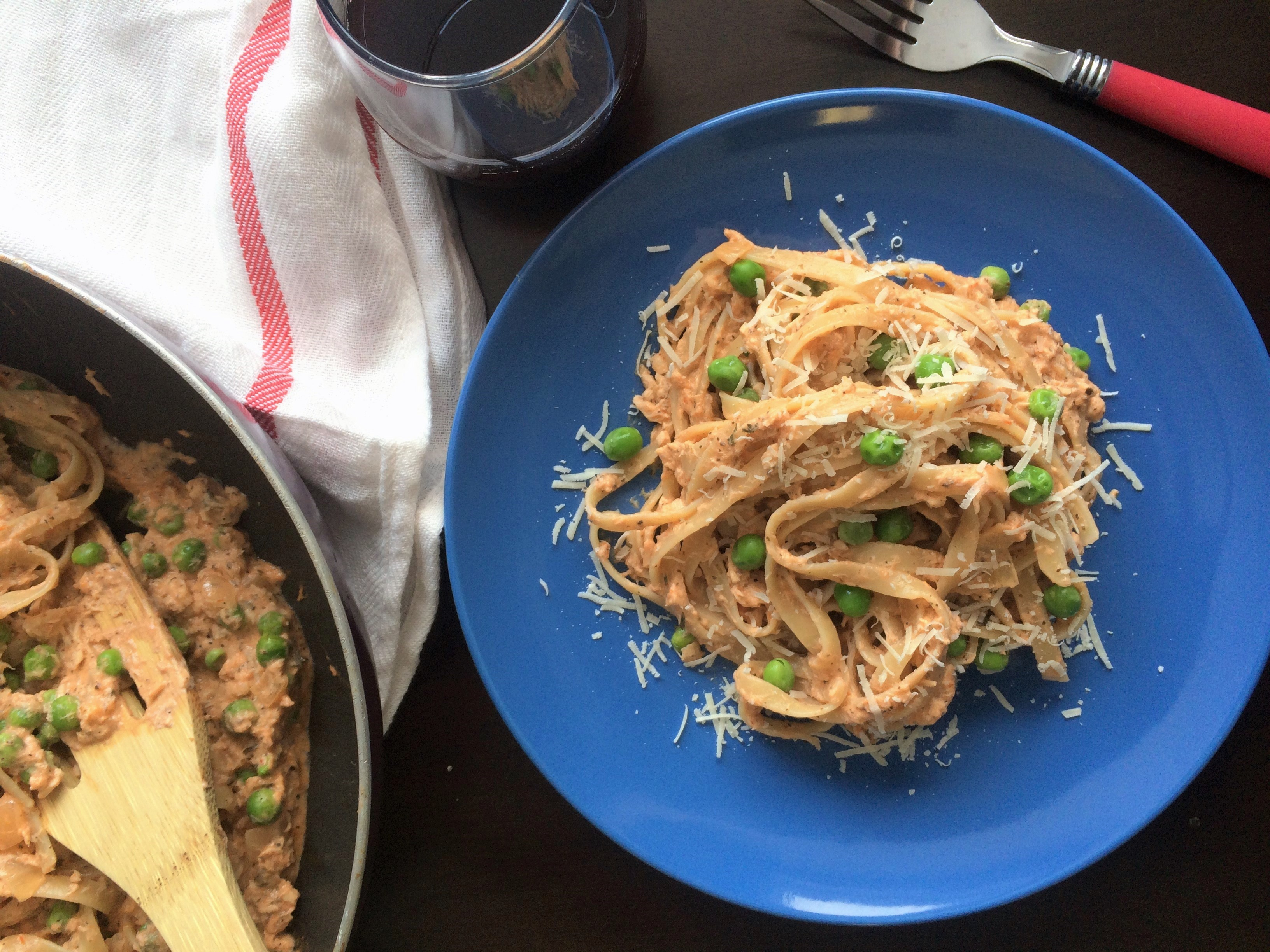 Salmon Fettuccine with Tomato Cream Sauce * Once In A Blue Spoon