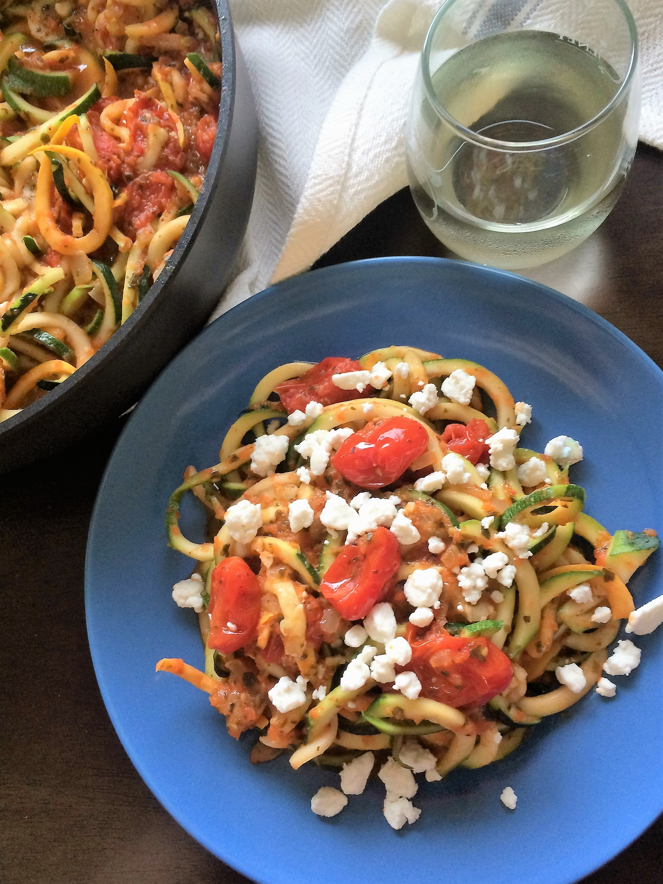 Zoodles with Cherry Tomato Roasted Red Pepper Sauce * Once In A Blue Spoon