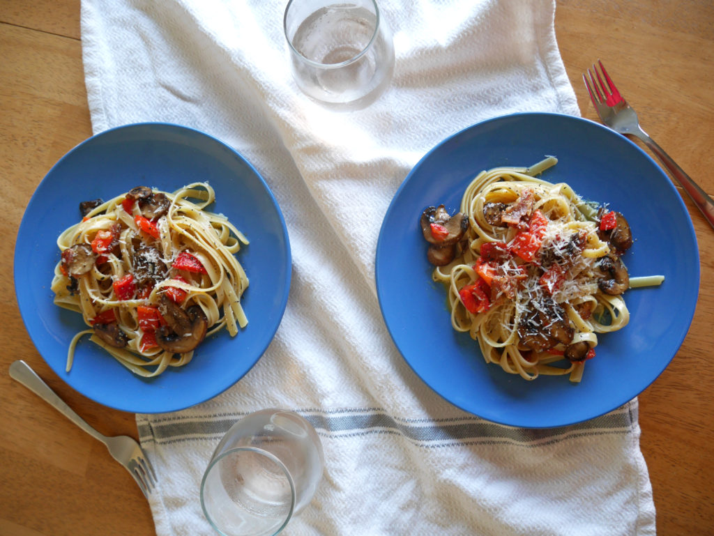 Fettuccine Carbonara with Mushrooms and Roasted Red Peppers * Once in a Blue Spoon