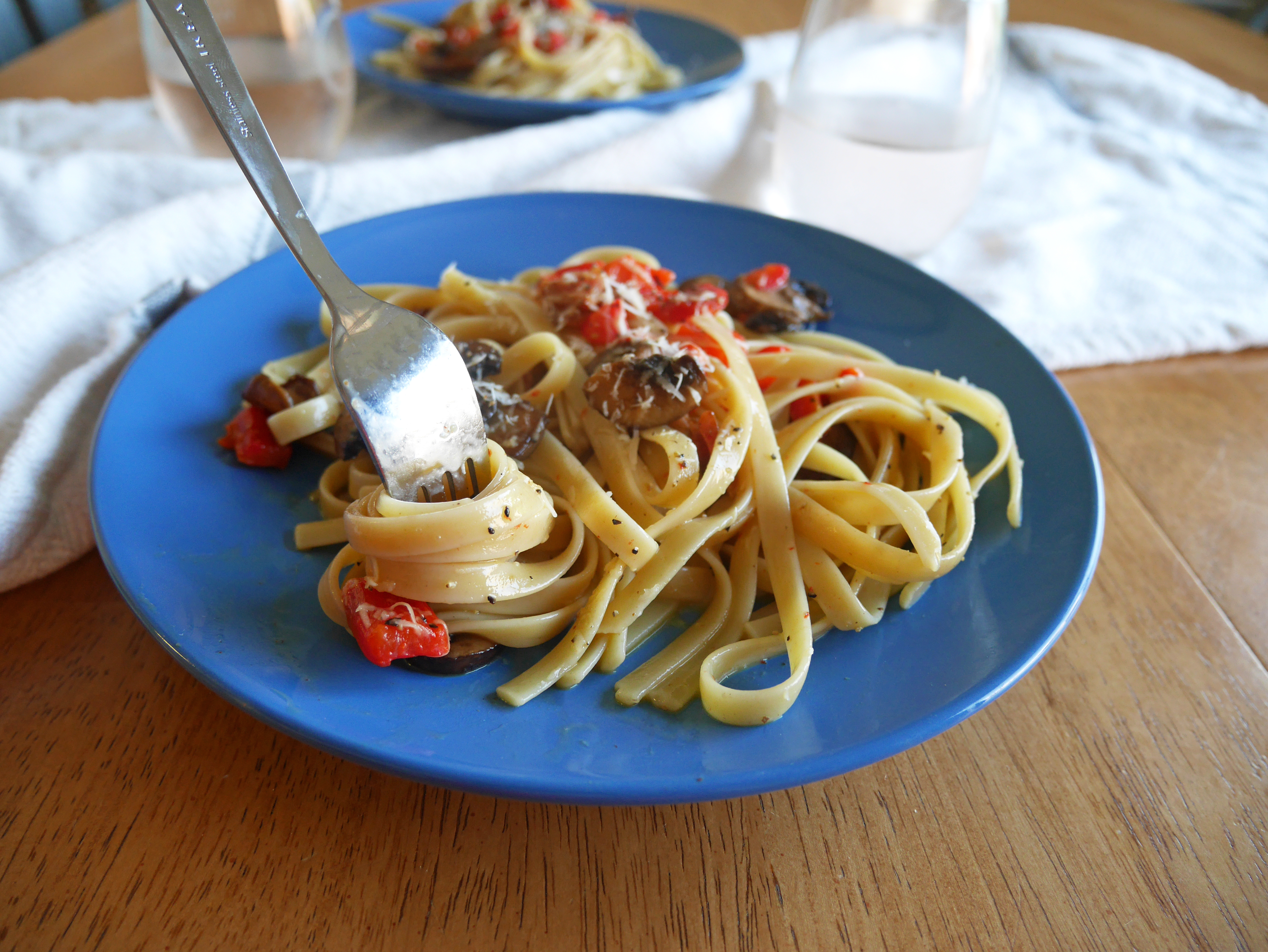Fettuccine Carbonara with Mushrooms and Roasted Red ...